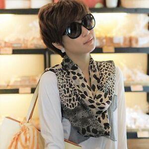 Fashion Women's Long Soft Wrap Lady Shawl Silk Leopard Chiffon Scarf Shawl