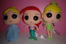 "3 Funko Disney Plush Princess Ariel Tinkerbell Cinderella 7"" Plushies Figures"