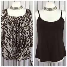 BHS Size 20 Ladies 2 Piece Blouse Top Vest Brown Animal Print Cool Loose