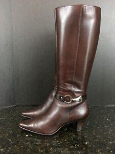 Anne Klein Women's I flex Brown Leather Knee High Heel Zip Up Boots 6.5 #14