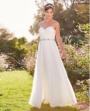 Vestido de novia Joanna Hope de Marfil Vestido/con Detalles Hermosos Diamanté Talla 10... nuevo con etiquetas