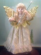"Electrical Angel In Ivory &Holds Lit Candle And Gold Wand 24"" Tall  Moves Head"