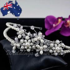 Pearl Bridal Tiara Crystal Jewellery Veil Headband Formal Hair Accessory SALE