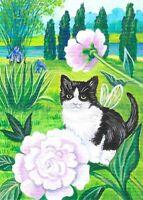 Original Raccoon Artist Lily of the Valley Winter Fairy Garden Flower ACEO Print