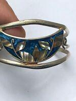ancien bracelet argent massif ALPACA MEXICO émail nacre