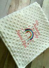 personalised dimple fleece baby blanket Rainbow Baby Pink