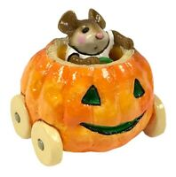 Wee Forest Folk Miniature Figurine Mouse in Pumpkin Mobile Car M-242 With Box