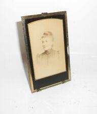 Antique Petit Stehbilderrahmen CDV Photo Femme Portrait 1890er Cadre Photo