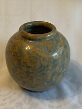 Vtg Carved Polished Stone Vase Rose Bowl Gray White Gold Brown 6x6� Weighs 7 Lbs