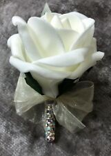 Ivory rose buttonhole with crystal stem