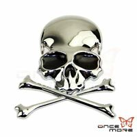 3D Alloy Flag Skull Cross Bone Car Trunk Motorcycle Emblem Badge Decal Sticker