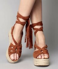 Sigerson Morrison Sandals Wedge Lace UP brown Suede 9 NEW