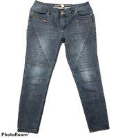 "Indigo Thread Co Women's 8 Skinny Moto Ankle Jeans Medium Wash Zip Pockets 27"""