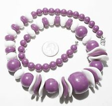 Beads & Stacked Wave Disks Large ChunkyNecklace, Purple/White Graduated Round