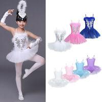 Child Girl Ballerina Ballet Dance Costume Kid Leotard Tutu Skirt Swan Dancewear