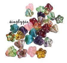 6mm Flower BABY Bell Czech Glass Beads 25 Choose Color