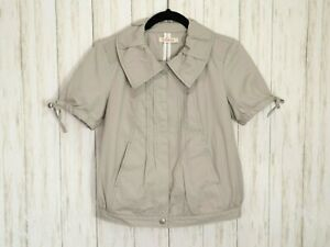 Tullette Gray Cotton Jacket Top Size Small Womens Short Sleeve Pockets Anthro