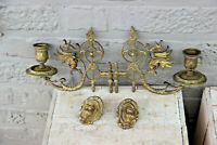 Pair bronze E muller marked piano Candlesticks candle holder dragon gothic