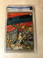 Boy Commandos #4 CGC 8.5 VF+ simon kirby 1943 WAR COVER early classic DC