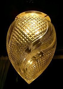 "Large c1930 Art Deco Cut Crystal Glass Acorn Shade Ceiling Hall Light 15"" Drop"