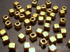 30pc Tibetan Silver Gold Plated Mini Small Cube Metal Spacer Beads 2.5mm (T042)