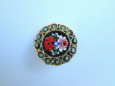 Vintage round cloisonne roses pin brooch