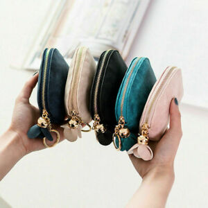 Women Ladies Leather Small Mini Wallet Card Key Holder Zip Coin Purse Clutch Bag