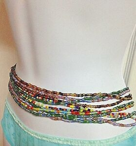 SEXY VARIOUS MULTI-TONE/ COLORED WAIST BEADS 0-50 INCHES AVALIABLE