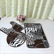 Mix Animal Print Toilet Cover Set 3 Pc Bathroom Mat Rug Lid Toilet Cover