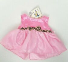 Build a Bear Pink and Leopard Print Bow Dress with Tags