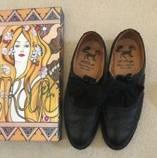 F-Troupe Real Leather Black Brogues, with Bow Detail, worn once, size 4, in box