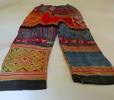 VINTAGE Hand Stitch Embroidered  Multi-Color Traditional  HMONG  Pants  SIZE.  S