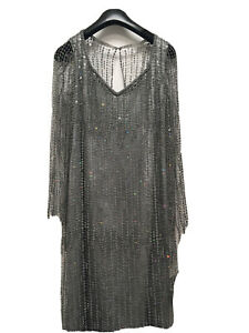 Gill Y Jacques Reiss Designer Silk Beaded Silver Dress Mother Of Bride Size 12