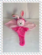 N - Doudou Semi Plat Lapin Rose Fuchsia  Fleur Attache Sucette Tex Baby