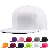 Mens Womens Solid Snapback Cap Plain Baseball Hip-Hop BBoy Sports Flat Peak Hat