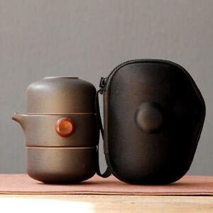 Ceramic Portable Travel Tea Set Office Coffee Set Teapot with Travel Bag