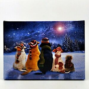 Dogs Waiting Watching Stars LED Light Up Lighted Canvas Wall or Tabletop Picture