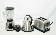 Silver 1.8L Cordless Electric Kettle +Wide Bread Slice Toaster +500W Blender Set