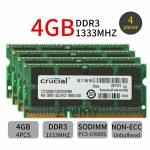 16GB 4x 4GB For Crucial PC3-10600S DDR3 1333MHz 204Pin CL9 intel Laptop RAM BT