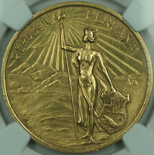 1921 Peru Gold Medal Independence Centennial from Spain NGC MS-61