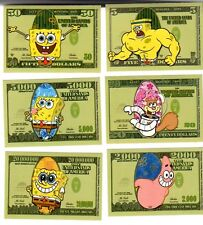 SPONGEBOB SQUAREPANTS MONEY STICKERS COMPLETE MINT SET scarce! COLLECTIBLE