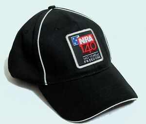 NRA National Rifle Assn 140 Years of Freedom Black Baseball Hat Cap Adjustable