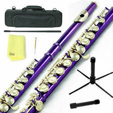 Sky Purple Gold C Close Hole Flute w Case, Stand, Cleaning Rod, Cloth and More