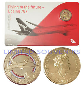 2020 $1 Qantas Centenary Coloured Coin Boeing 787 Flying to Future NEW SEALED