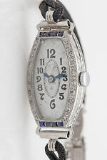 Antique 1920s $6000 1ct Blue Sapphire Diamond Platinum ENGRAVED Ladies Watch WTY