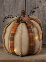 """PRIMITIVE RESIN /""""FALL BLESSINGS/"""" LIGHTED PUMPKIN WITH HOUSE AND WILLOW TREE"""