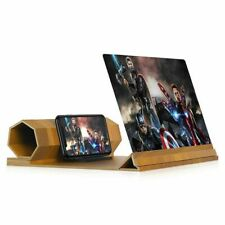 """Wooden Folding Mobile Phone Screen Magnifier HD Video Amplifier Holder Stand 12"""""""
