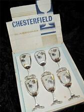 VINTAGE CHESTERFIELD GLASSWARE 3 oz Glasses Set of 6 Gilded Grape Pattern in Box