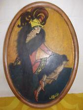 Peinture sur carton.ELEGANTE au boa. dans le style des années 30.Signé A MORAIN