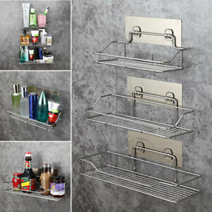 Stainless Steel Bathroom Shower Shelf Storage Suction Basket Tidy Non Rust
